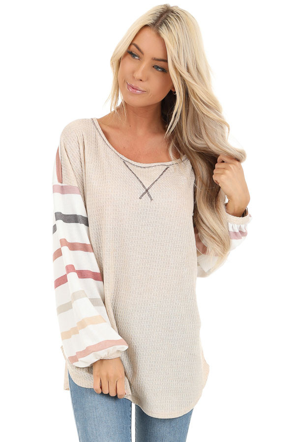 Oatmeal Waffle Knit Top with Long Striped Bubble Sleeves front close up