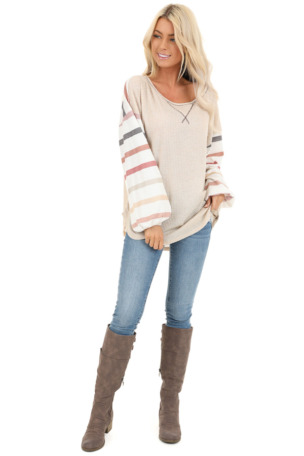 Oatmeal Waffle Knit Top with Long Striped Bubble Sleeves front full body