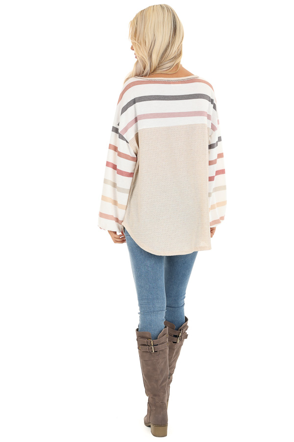 Oatmeal Waffle Knit Top with Long Striped Bubble Sleeves back full body