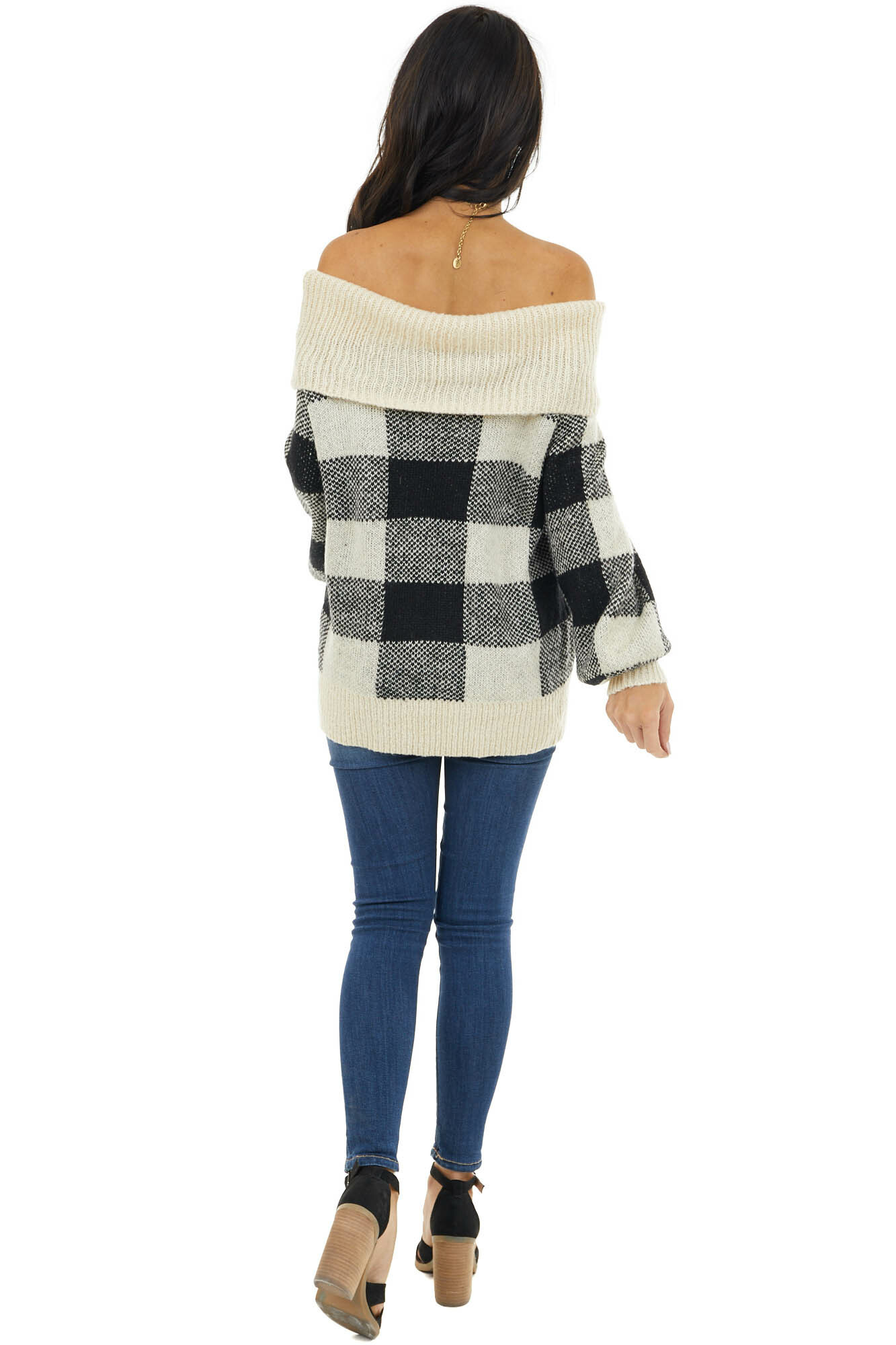 Ivory and Black Buffalo Plaid Off the Shoulder Sweater