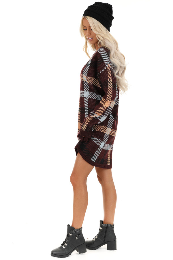 Burgundy Plaid Sweater Dress with Frayed Edge side full body