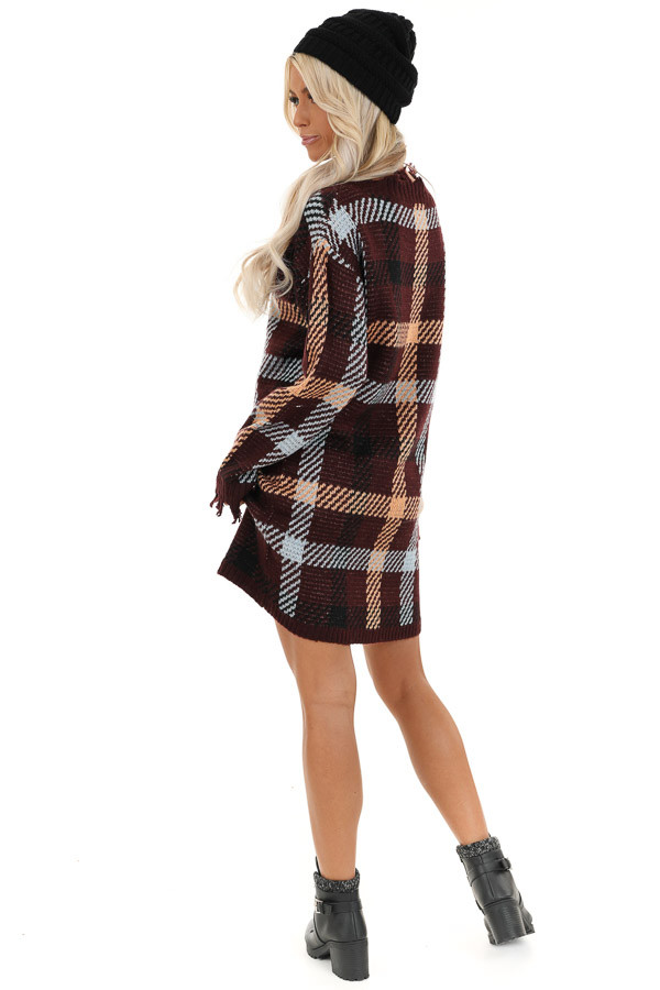 Burgundy Plaid Sweater Dress with Frayed Edge back full body