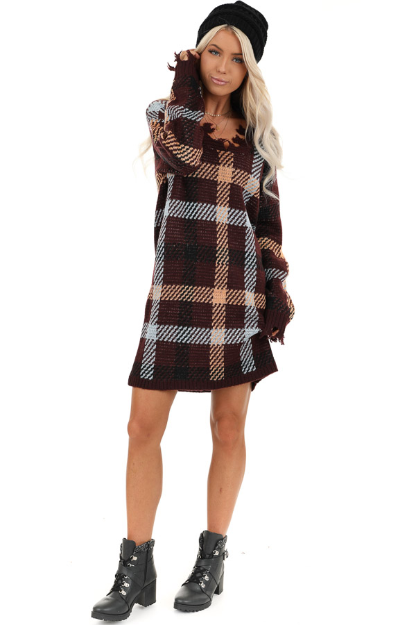 Burgundy Plaid Sweater Dress with Frayed Edge front full body