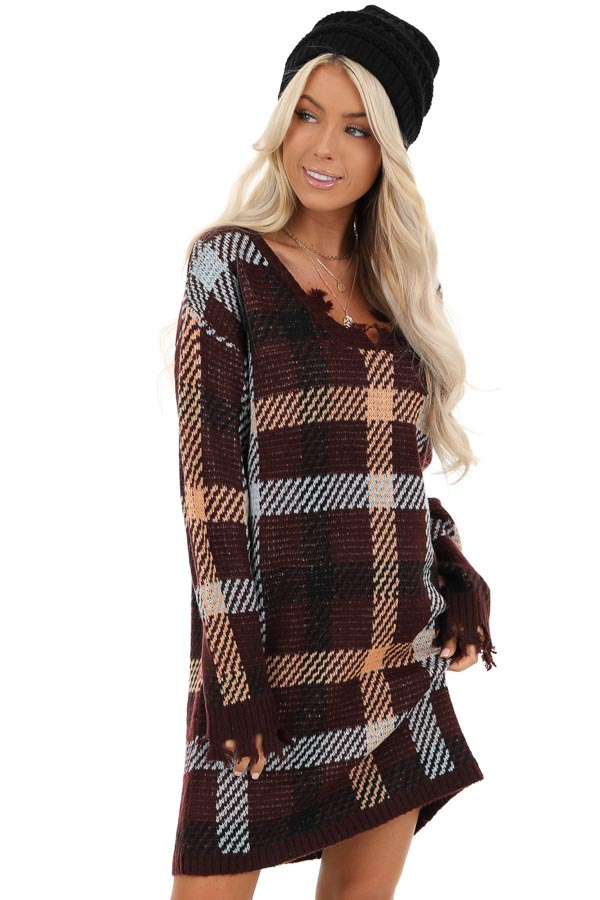 Burgundy Plaid Sweater Dress with Frayed Edge