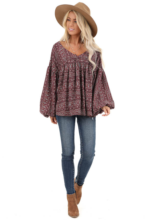 Burgundy Multi Print V Neck Top with Long Balloon Sleeves front full body