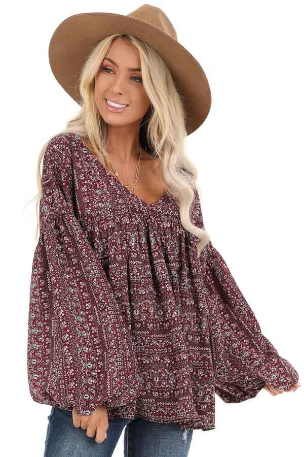 Burgundy Multi Print V Neck Top with Long Balloon Sleeves front close up