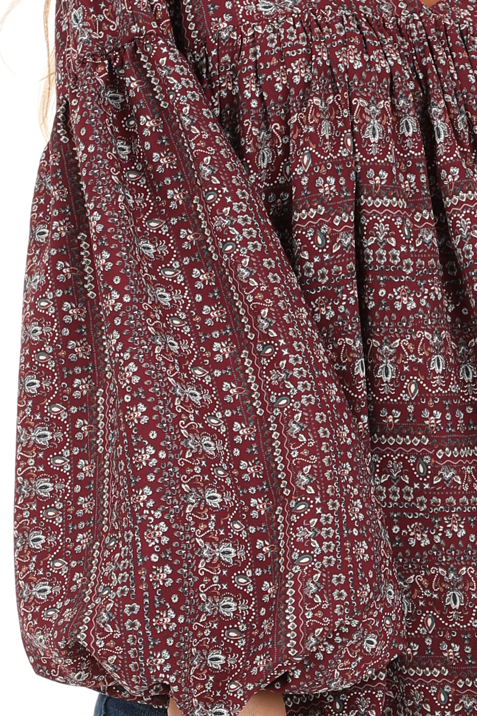 Burgundy Multi Print V Neck Top with Long Balloon Sleeves detail