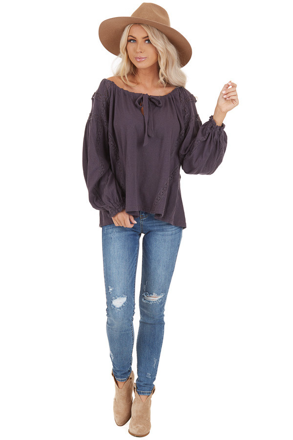 Ash Lacey Long Sleeve Loose Top with Front Tie Detail front full body