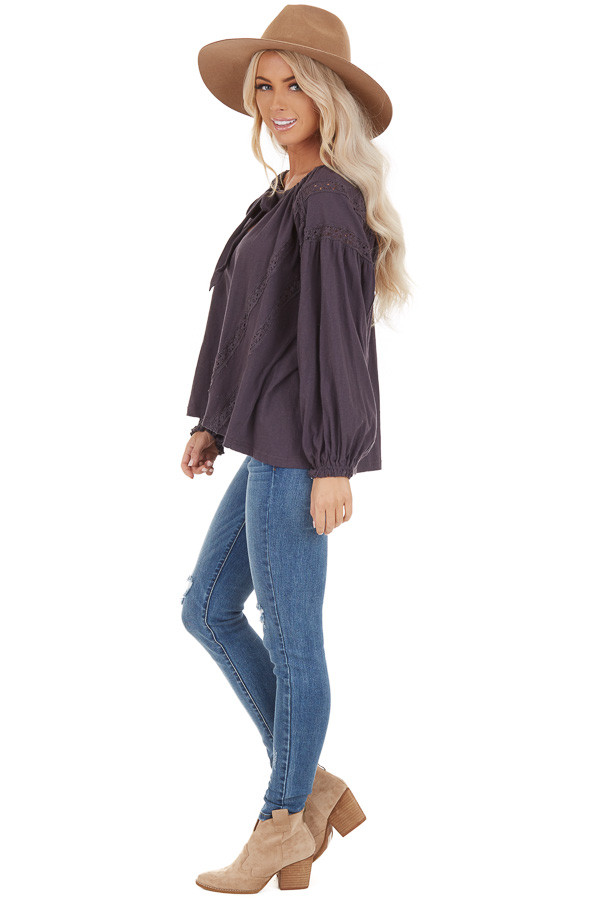 Ash Lacey Long Sleeve Loose Top with Front Tie Detail side full body