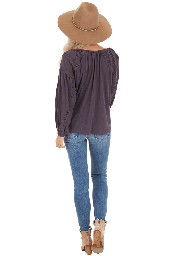 Ash Lacey Long Sleeve Loose Top with Front Tie Detail back full body