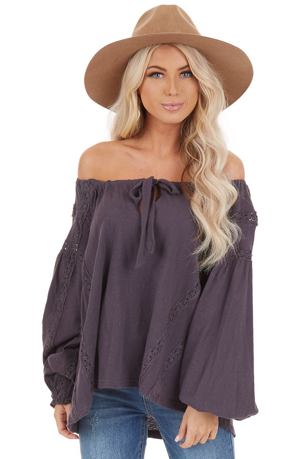 Ash Lacey Long Sleeve Loose Top with Front Tie Detail front close up