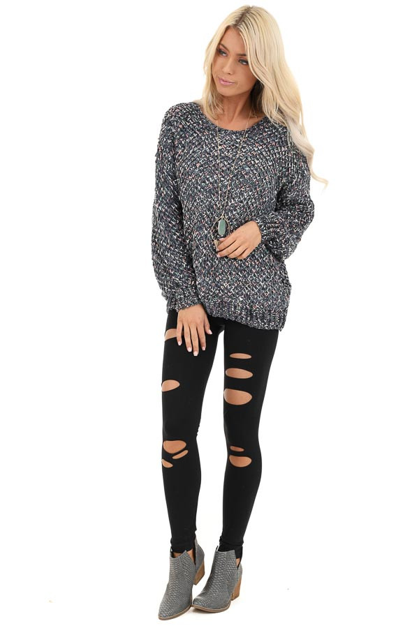 Slate Blue Multi Color Long Sleeve Chenille Sweater Top front full body