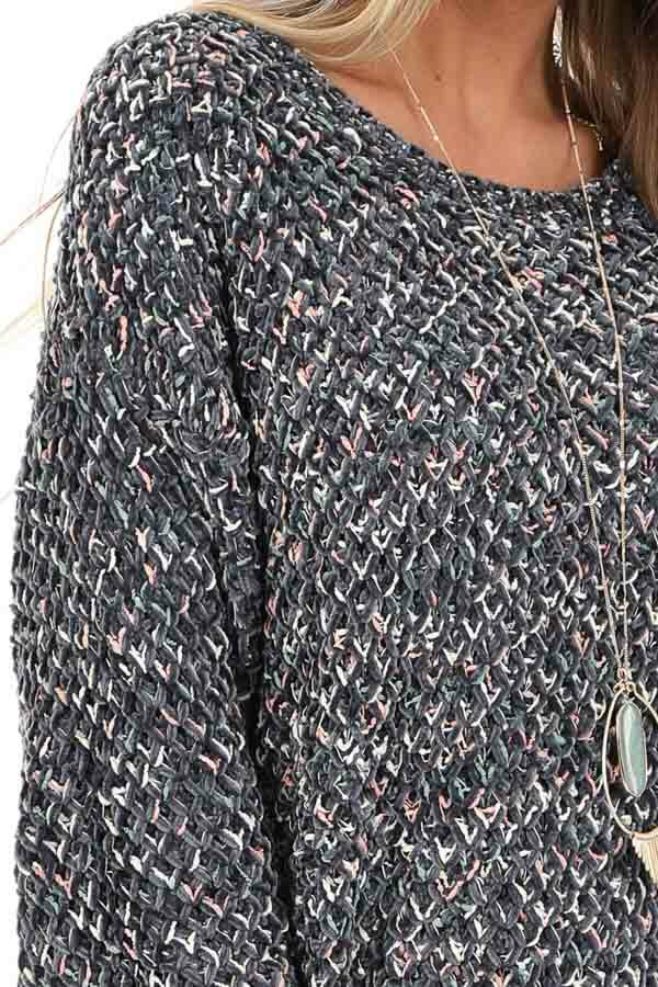 Slate Blue Multi Color Long Sleeve Chenille Sweater Top detail