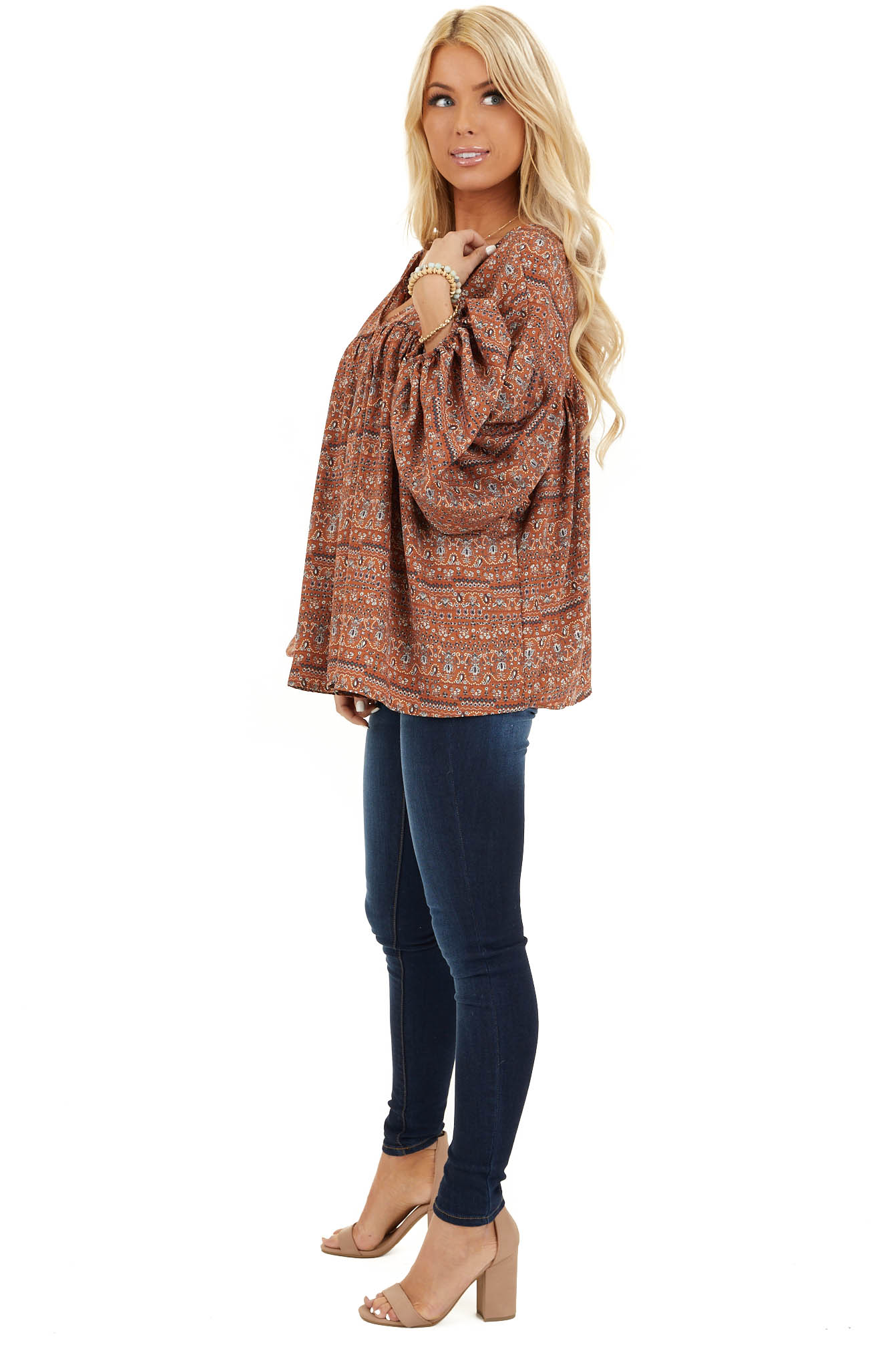 Cinnamon Multi Print V Neck Top with Long Balloon Sleeves side full body