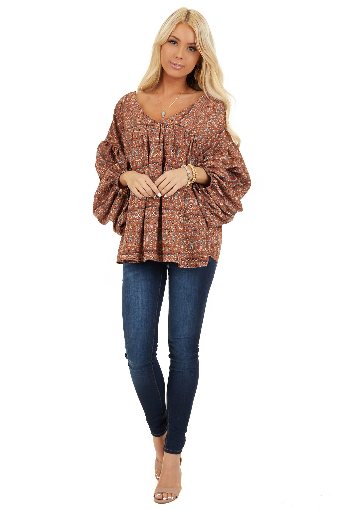 Cinnamon Multi Print V Neck Top with Long Balloon Sleeves front full body