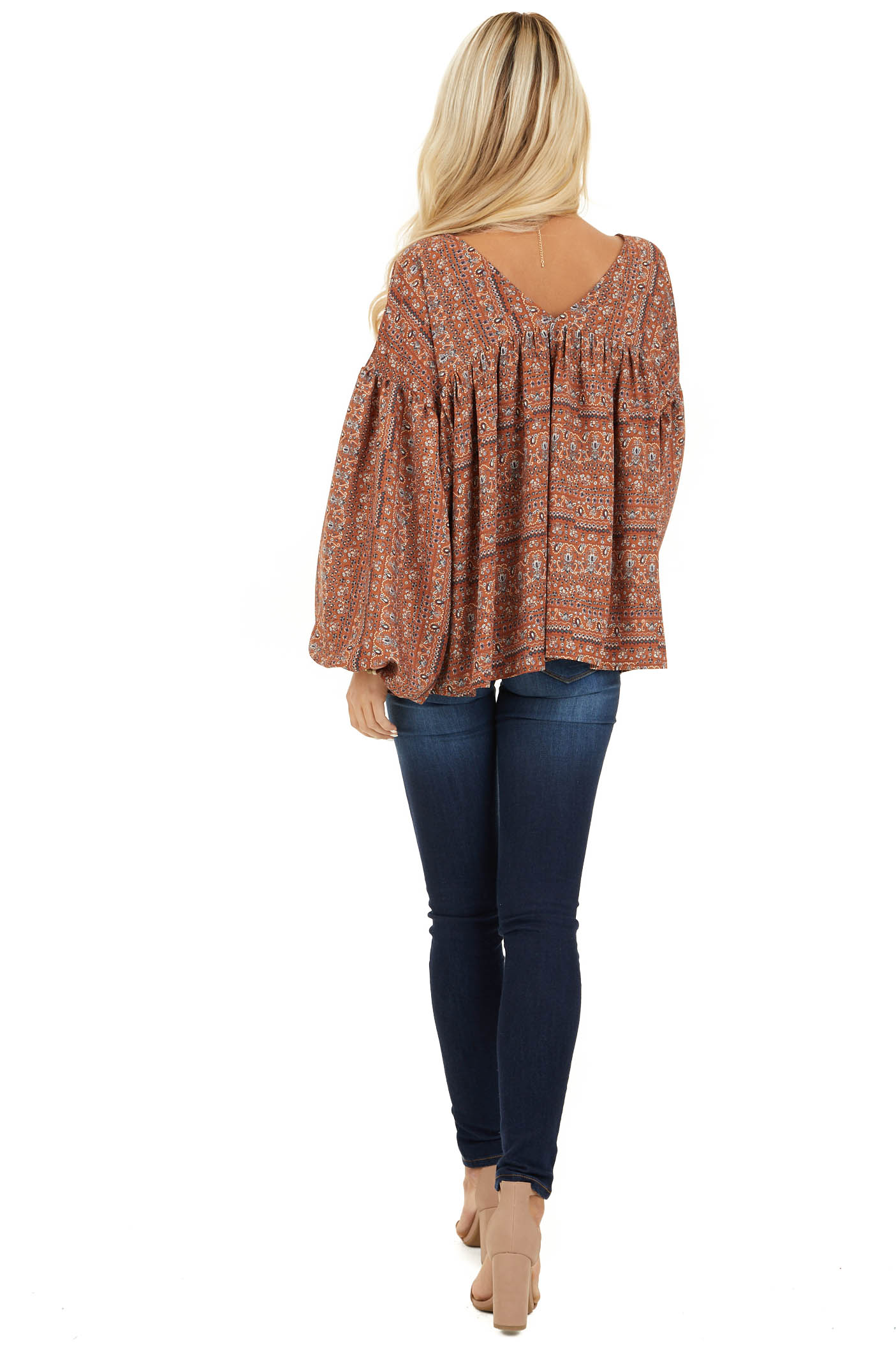 Cinnamon Multi Print V Neck Top with Long Balloon Sleeves back full body