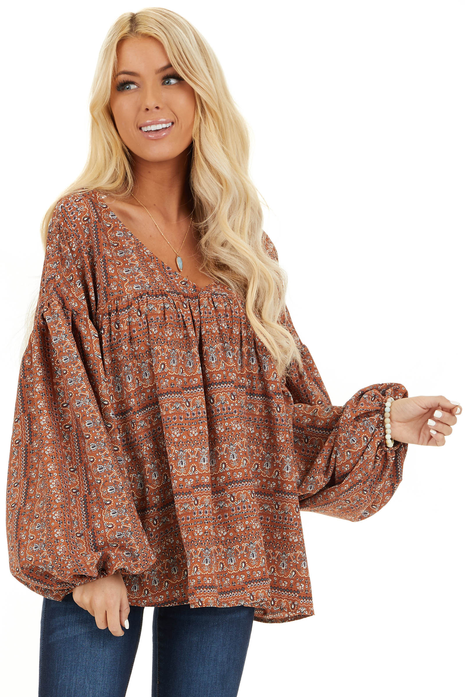 Cinnamon Multi Print V Neck Top with Long Balloon Sleeves front close up
