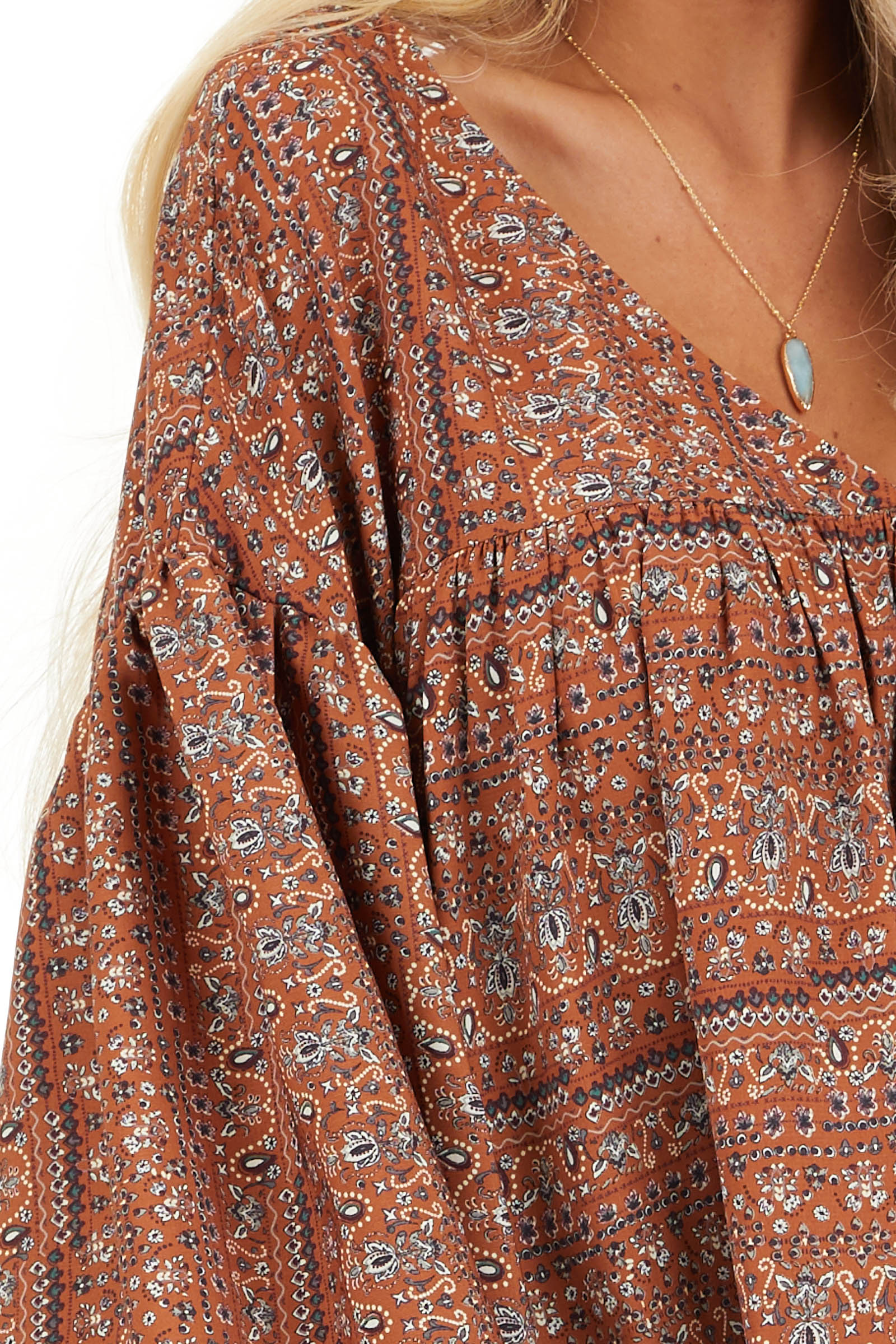 Cinnamon Multi Print V Neck Top with Long Balloon Sleeves detail