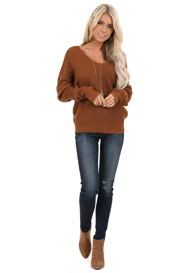 Camel Chunky Knit Sweater with Open Back Twist Detail front full body