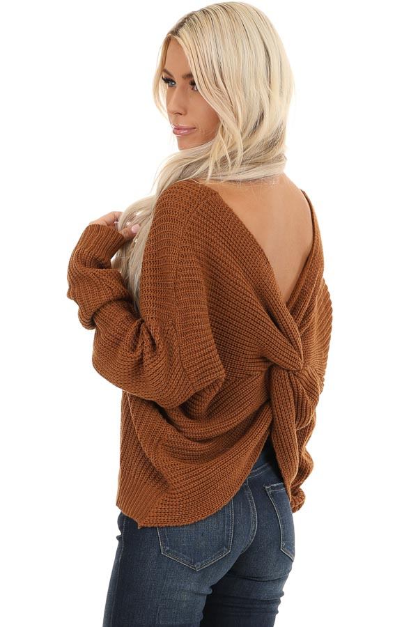 Camel Chunky Knit Sweater with Open Back Twist Detail back side close up