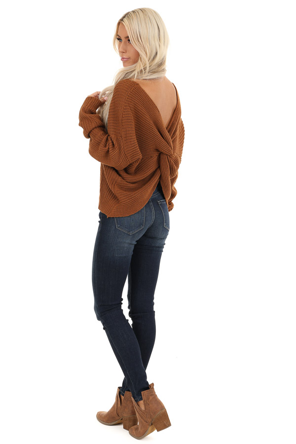 Camel Chunky Knit Sweater with Open Back Twist Detail side full body