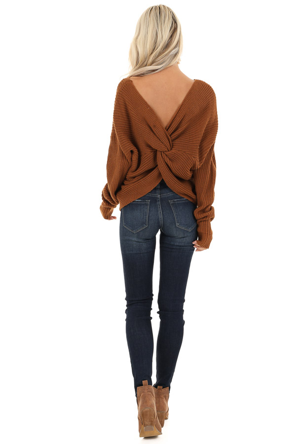 Camel Chunky Knit Sweater with Open Back Twist Detail back full body