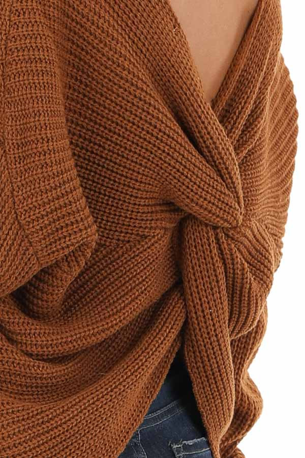 Camel Chunky Knit Sweater with Open Back Twist Detail detail
