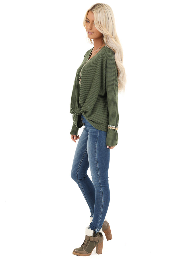 Pine Green Waffle Knit Long Sleeve Top with Front Twist side full body