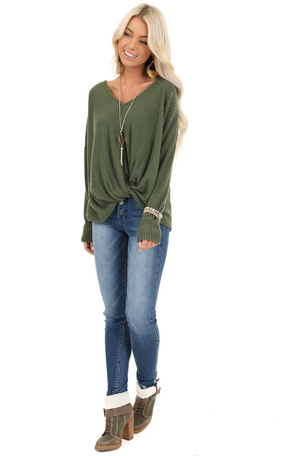 Pine Green Waffle Knit Long Sleeve Top with Front Twist front full body
