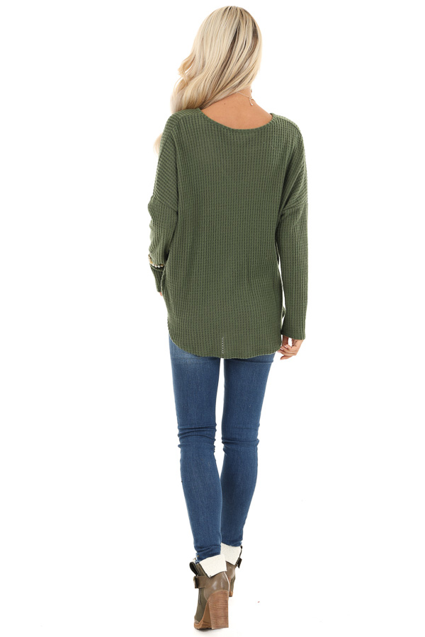 Pine Green Waffle Knit Long Sleeve Top with Front Twist back full body