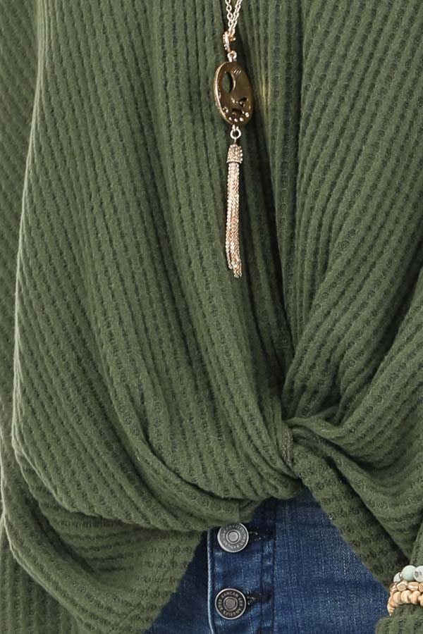 Pine Green Waffle Knit Long Sleeve Top with Front Twist detail