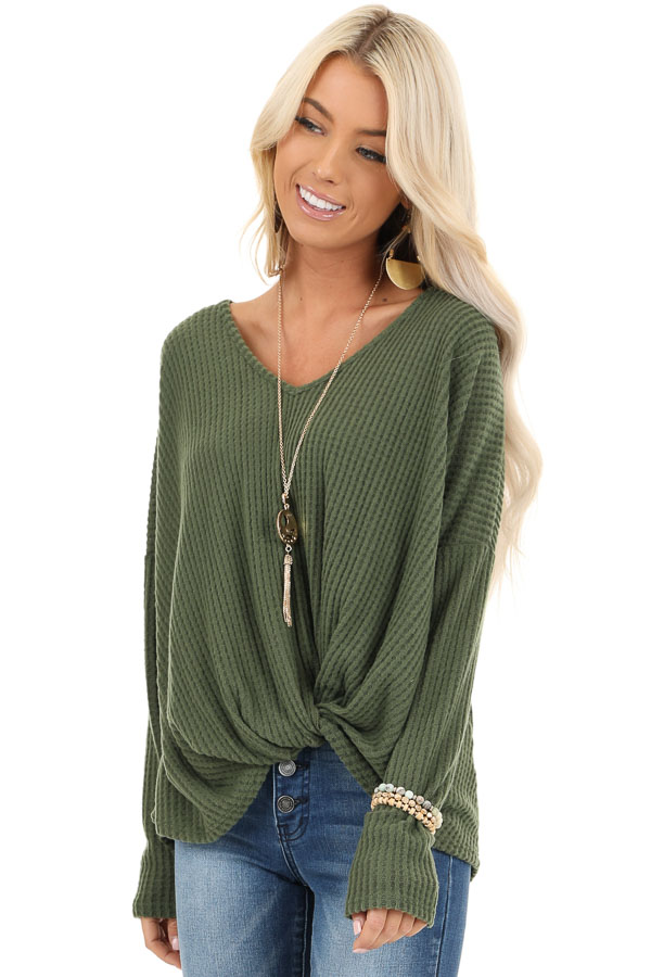 Pine Green Waffle Knit Long Sleeve Top with Front Twist front close up