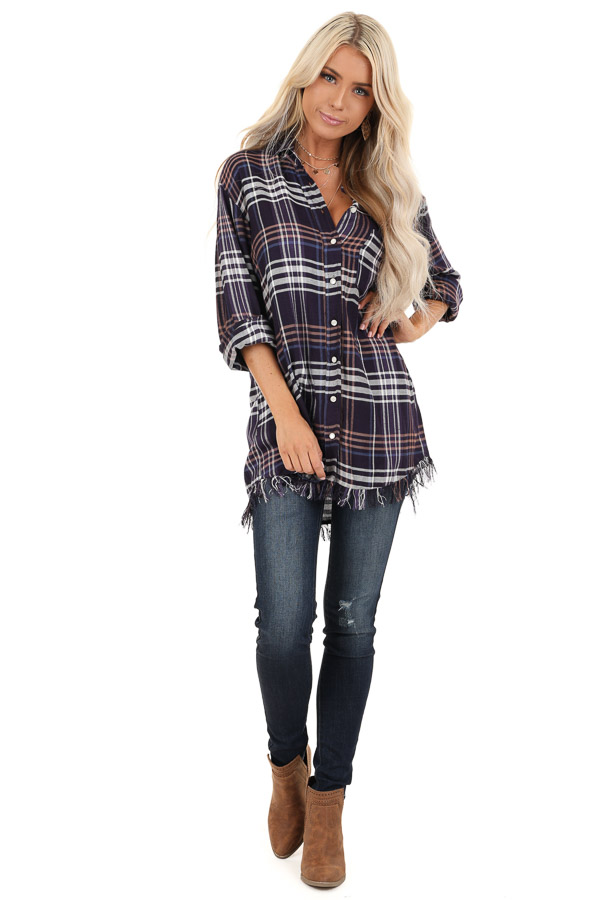 Navy and Violet Plaid Flannel Top with Fringe Detail front full body