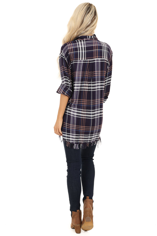 Navy and Violet Plaid Flannel Top with Fringe Detail back full body