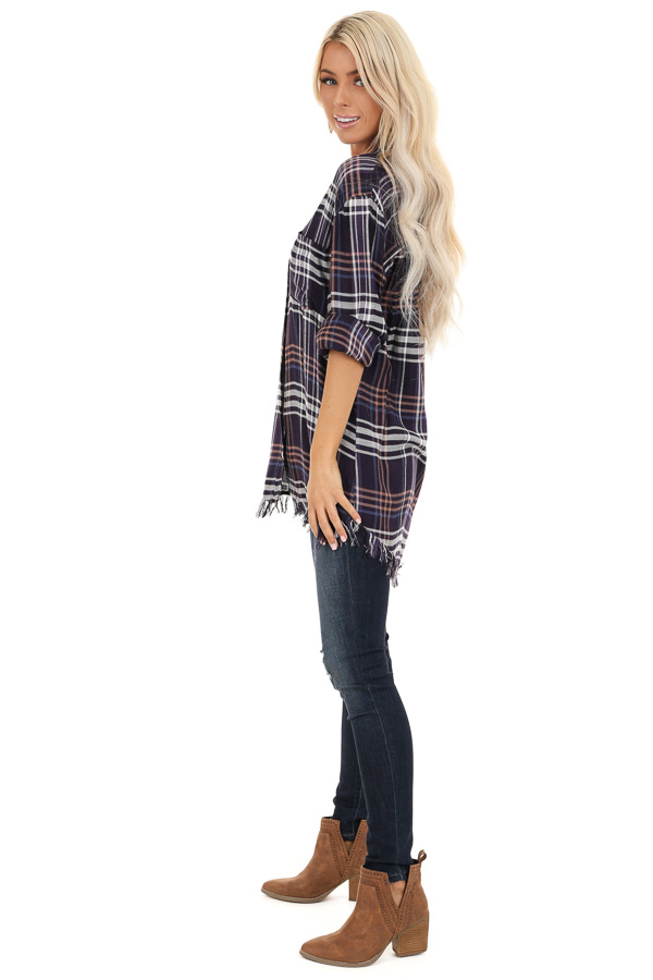 Navy and Violet Plaid Flannel Top with Fringe Detail side full body