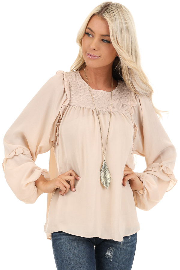 Rose Gold Woven Top with Bubble Sleeves and Ruffle Detail front close up