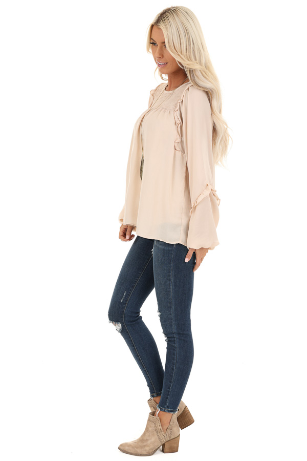 Rose Gold Woven Top with Bubble Sleeves and Ruffle Detail side full body