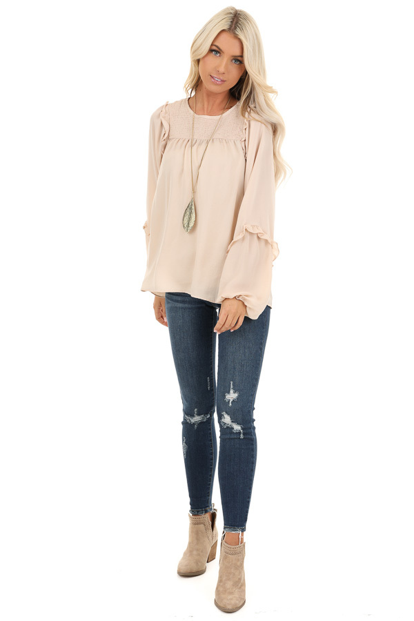 Rose Gold Woven Top with Bubble Sleeves and Ruffle Detail front full body