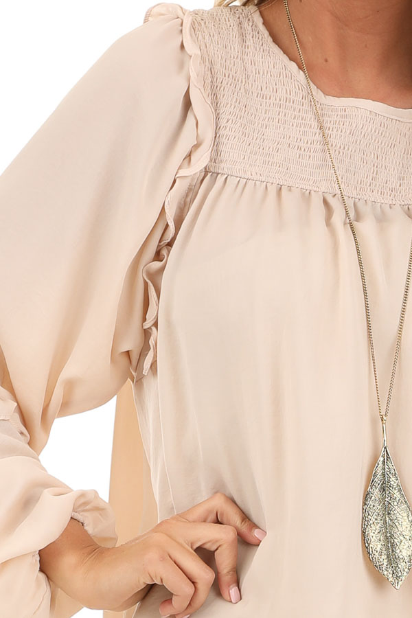 Rose Gold Woven Top with Bubble Sleeves and Ruffle Detail detail