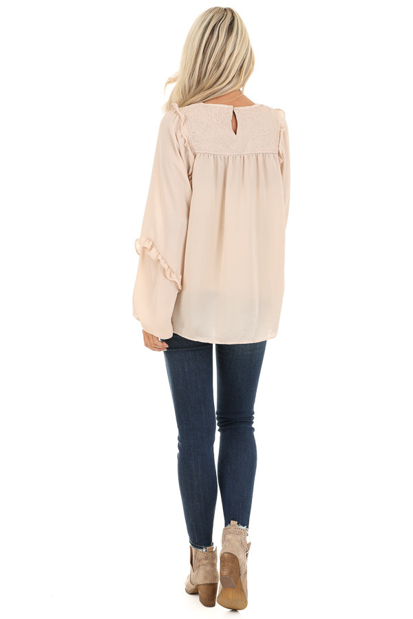 Rose Gold Woven Top with Bubble Sleeves and Ruffle Detail back full body