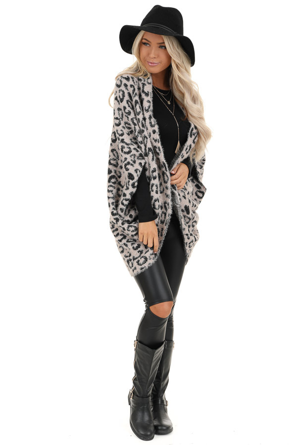 Dusty Pink and Black Leopard Print Cardigan front full body