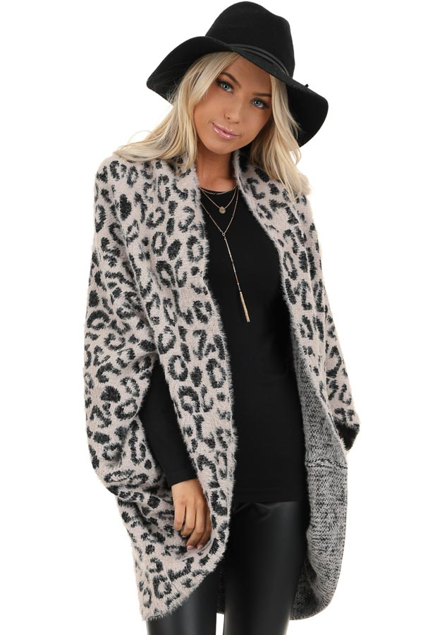 Dusty Pink and Black Leopard Print Cardigan front close up