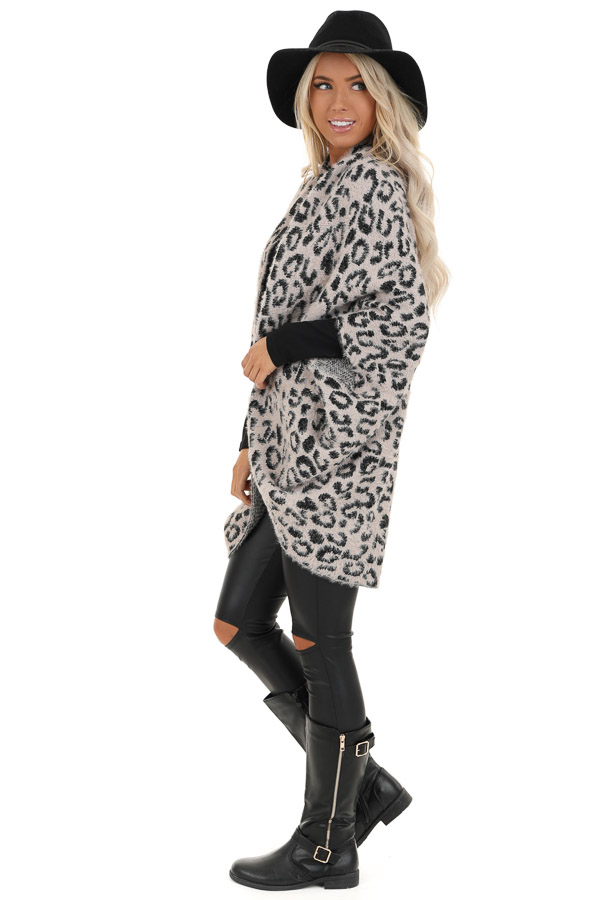 Dusty Pink and Black Leopard Print Cardigan side full body