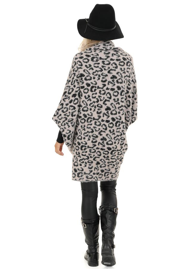 Dusty Pink and Black Leopard Print Cardigan back full body