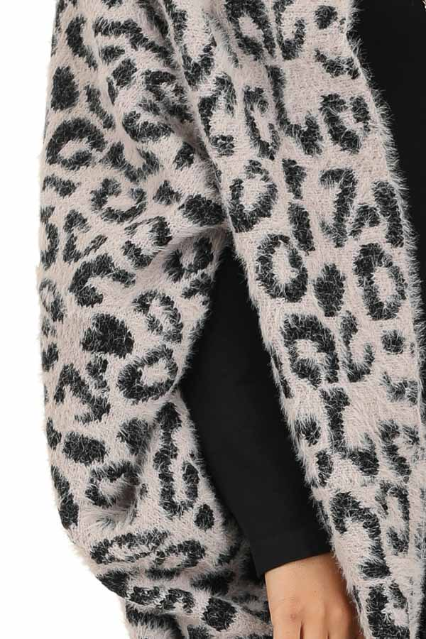 Dusty Pink and Black Leopard Print Cardigan detail
