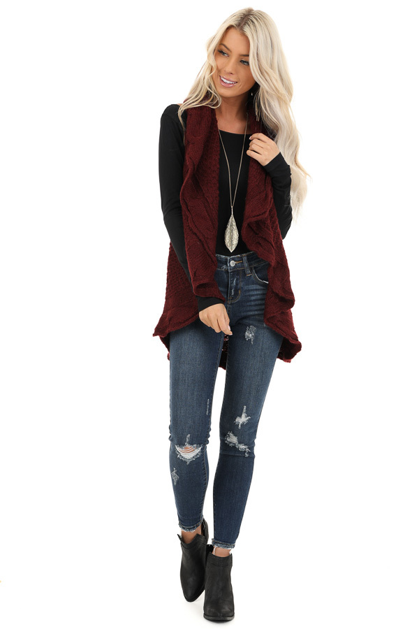 Burgundy Knit Textured Sweater Vest with Open Front front full body