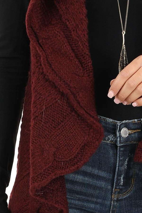 Burgundy Knit Textured Sweater Vest with Open Front detail