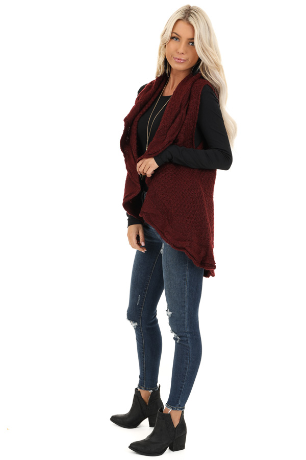 Burgundy Knit Textured Sweater Vest with Open Front side full body