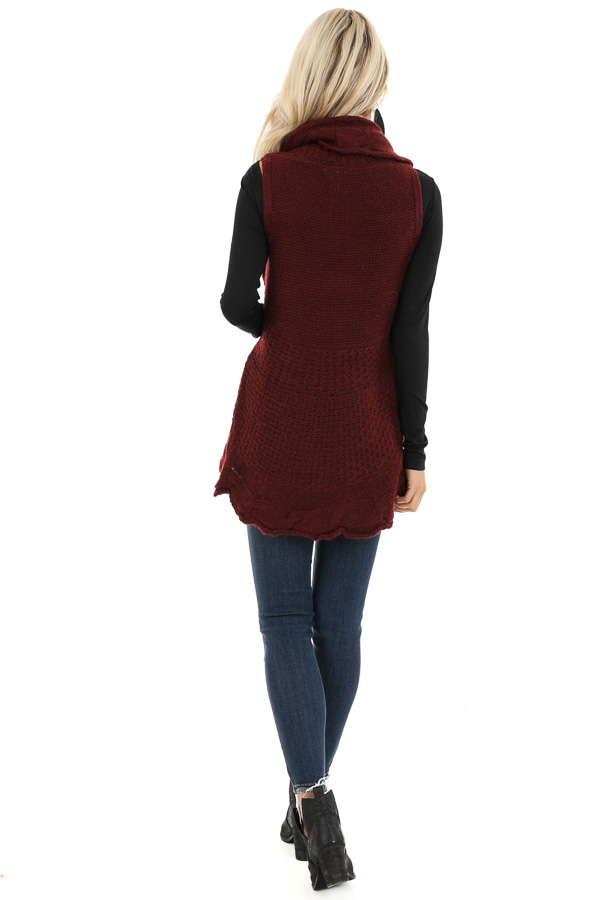 Burgundy Knit Textured Sweater Vest with Open Front back full body