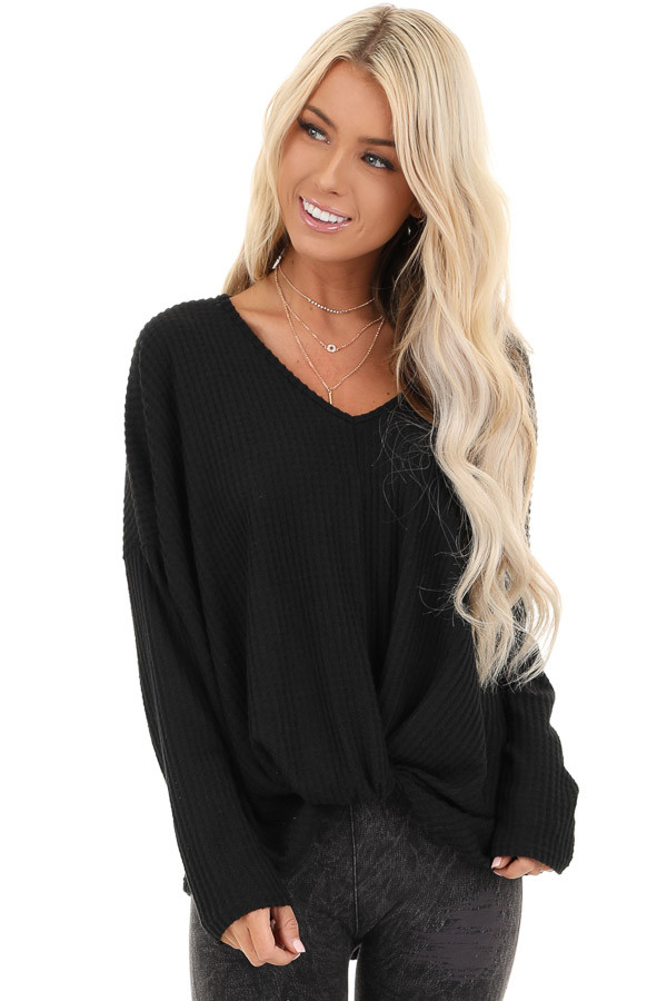 Black Waffle Knit Long Sleeve Top with Front Twist front close up